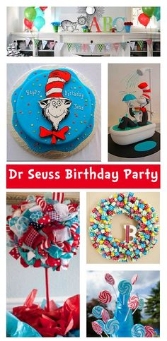 Dr Seuss Cat in the Hat Party Ideas #seuss #birthday #party #decorations #diy