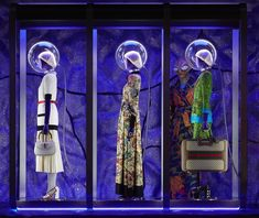 Gleaming purple material references the night sky, and an extra-terrestrial appears in a jacquard robe: a look at the new window installations for Gucci FW17 in Via Montenapoleone, Milan.