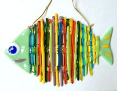 Rainbow fish glass fusing techniques Rainbow fish is made of glass and painted by author. Fine work from glass in fusing technique is one of the best gift