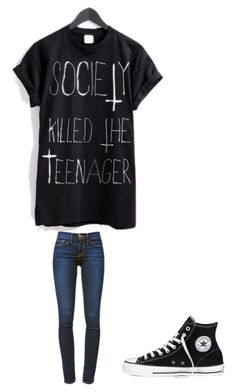 """"""""""" by melodyleighmitchell on Polyvore featuring Frame Denim and Converse"""