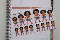 African American Wonder Woman Planner Stickers by hellostickers