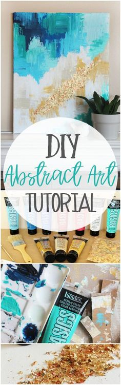 Learn How To Paint An Abstract Painting With Acrylic … DIY Abstract Art Tutorial. Learn How To Paint An Abstract Painting With Acrylic Paints And A Step By Step Tutorial. Acrylic Tutorials, Art Tutorials, Painting Tutorials, Diy Wall Art, Diy Art, Diy Canvas, Canvas Art, Painting Canvas, Canvas Walls