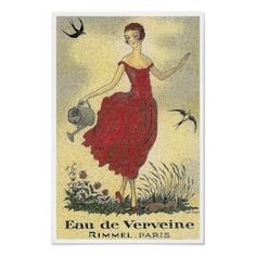 vintage perfume posters and ads | Eau de Verveine Perfume ~ Vintage French Ad Poster from Zazzle.com