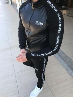 Hugo Boss Tracksuit, Mens Tracksuit Set, Dope Swag Outfits, Nike Outfits, Free T Shirt Design, Kurta Pajama Men, Mode Man, Polo Outfit, Mens Jogger Pants