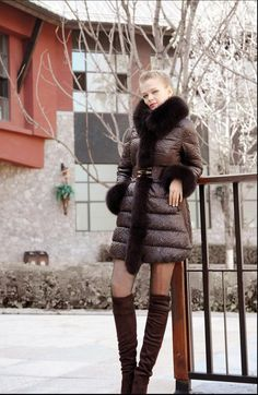 Winter 2015 News Brand Women Duck Down Jacket Real Fox Fur Collar Patchwork Warm Coats With Belt And Zipper Plus Size DJ 9015