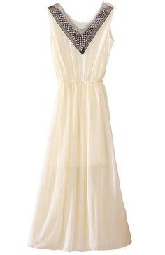 Beige V Neck Sleeveless Rhinestone Bandeau Chiffon Dress