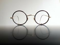Algha round antique eyeglasses 30s gold metal brown celluloid cover cable Brille #Algha #Round #Everyday