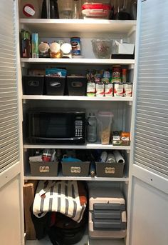 pantry organization, closet, organizing Create hole in back of pantry to put microwave in there.  clever!