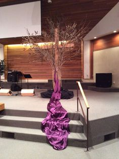Mercy Tree designed around our cross for Lent. Kelowna Gospel Church So excited to see my design come together! Lent Decorations For Church, Craft Decorations, Catholic Altar, Altar Design, Church Stage Design, Church Flowers, Church Banners, Palm Sunday, Wedding Church
