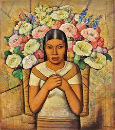 ALFREDO RAMOS MARTINEZ - Vendedora de Flores (Flower Vendor), 1934 oil on canvas