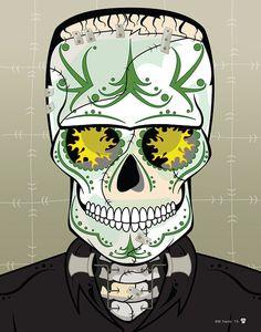 Impresión 14 x 11 monstruo Frankenstein Sugar Skull imprimir