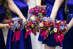 Bold blues and purple give her classic wedding a modern touch. Plus the coloured flowers and ribbons create the perfect balance of decor.  by Michela & Michela wp www.italianweddingcompany.com