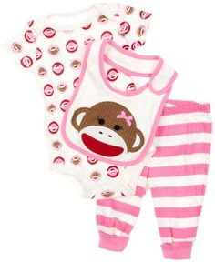 5d4f0bf7af 3 Piece Sock Monkey Baby Outfit by Baby Starters - List price   24.00  Price   14.40
