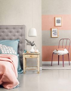Pink and grey. Cute, comfy, cozy space.