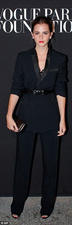 Emma Watson in a pantsuit at the Vogue Foundation Gala in Paris http://dailym.ai/1nb4UBY
