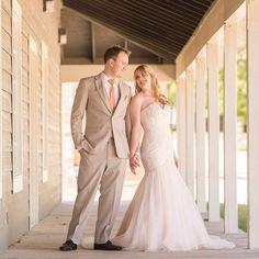Dramatic blush wedding dress