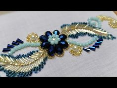 Bead Embroidery Tutorial, Embroidery Leaf, Embroidery Flowers Pattern, Bead Embroidery Jewelry, Embroidery Fashion, Silk Ribbon Embroidery, Hand Embroidery Designs, Bead Jewellery, Beaded Jewelry