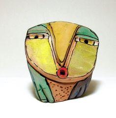 Owl art ceramic owl sculpture whimsical colorful by BlueFireStudio