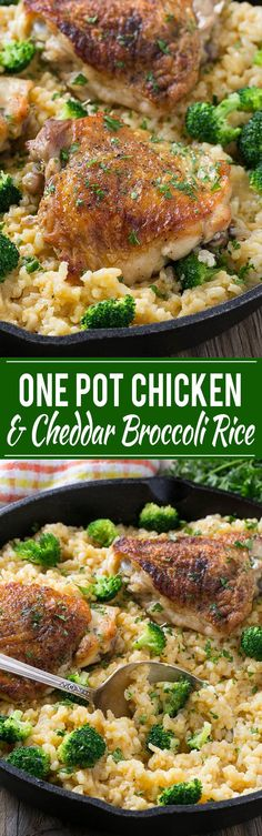 This one pot chicken with cheddar broccoli rice combines classic flavors for a quick and easy dinner. Chicken thighs are cooked with a creamy cheesy broccoli cheddar rice for a complete meal without all the cleanup. (easy healthy meals for one) One Pot Chicken, Chicken Thigh Recipes, Chicken Rice, Cheesy Chicken, Recipe Chicken, Chicken Dishes With Rice, Sriracha Chicken, Greek Chicken, Stuffed Chicken