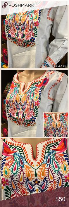 New Embroidered Blouse Colorful Peacocks & Tassels New, cream tone fabric, colorful embroidery featuring two peacocks, 3/4 sleeves with tassels. Size Medium. Made in Mexico. Tags: Mexican top ethnic clothing handmade embroidered Cielito Lindo boho bohemian free people raga love stitch Cielito Lindo  Tops Blouses