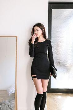 Buy Side Strap Slim Dress at Korean Fashion Store. Korea Fashion, Korean Street Fashion, Kpop Fashion, Asian Fashion, Fashion Models, Fashion Trends, Fashion Women, Women's Fashion Dresses, Skirt Fashion