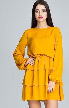 140a0838fb Figl M601 sukienka musztardowa Efektowna sukienka świetna zarówno na co  dzień jak i na wieczorne wyjścia
