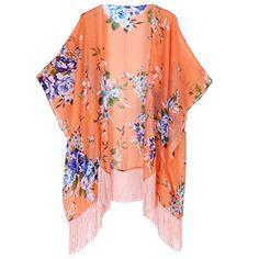 aad3406c4f Women's Floral Kimono Cover Up - Lightweight Leopard Chiffon Beachwear for  Bikini, Cardigan and Swimwear at Amazon Women's Clothing store: