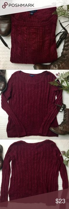 "American Eagle Knit Sweater Lightweight American Eagle Outfitters Knit sweater. It measures 21"" pit to pit. Minor piling under the arms from normal wear. Great condition 💕 great wardrobe addiction for the coming holidays! American Eagle Outfitters Sweaters"