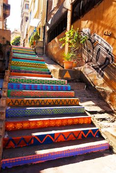 Funky street art ~ colorfull public stairs By DIHZAHYNERS in Beirut, Lebanon. Photo by Nadim Kamel