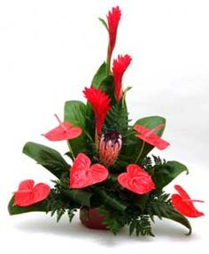 Flower arrangement with Anthuriums