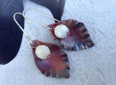 My heart's desire  earrings with heat treated copper. by MONOtekst, $33.00