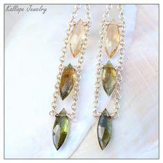 tourmaline and citrine long gemstone earrings by KalliopeJewelry, $135.00