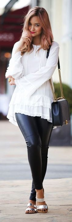 Nicole Miller White Flowy Ruffle Hem Bell Sleeve Blouse by Late Afternoon