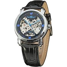 Winner Black Skeleton Designer Blue Engraving Clock Men Leather Strap Mens Watches Automatic Watch Montre Homme