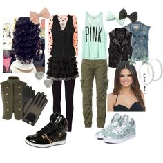 Personal outfit I created on Polyvore! The idea around this set was inspired by  my experience with HIP-HOP dance. Sneakers, vests, baggy pants, leggings, and bows were my comfort clothes performing. If I was able to choose my performing wear, this is a good representation of what I would choose. (: