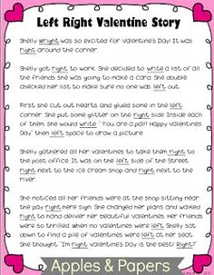 apples and papers: Valentines Day Recap & Left/Right Story Freebie