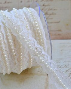 Lace Pearl Ribbon Trim Wedding Ivory Cream Off White 1 Yard Wedding Chic Wedding, Trendy Wedding, Our Wedding, Dream Wedding, Wedding Ideas, Wedding Stuff, Pearl Centerpiece, Candle Centerpieces, Pearl And Lace