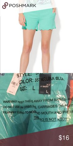 NWT Scallop shorts! New with tags and still in bag. Teal Scallop shorts! Size Large! New York & Company Shorts