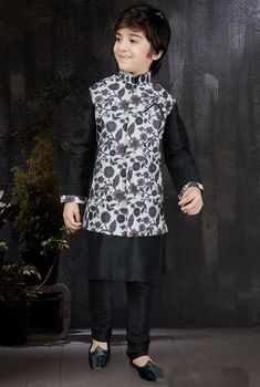 Black Kids Kurta Set with Jacket