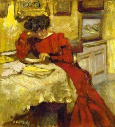 EDOUARD VUILLARD (1868-1940)   Madame Hessel en robe rouge lisant   signé 'E Vuillard' (en bas à gauche)   huile sur carton     Peint vers 1905