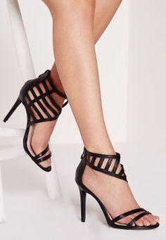 Laser Cut Asymmetrical Heeled Sandals Black