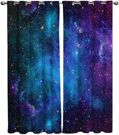 Curtains 40 inch Wide by 63 inch Length for Living Room Bedroom, Blackout Room Darkening Galaxy Stars Universe Planet Nebula Starry Sky Window Curtain Thermal Insulated with Grommet Drapes, 2 Panels: Home & Kitchen Room Ideas Bedroom, Living Room Bedroom, Room Decor, Galaxy Bedroom, Teal Rooms, Room Cooler, Tapestry Bedroom, Cool Curtains, Thermal Curtains