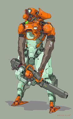 Armored Mech by Brian Sum on ArtStation. Arte Ninja, Arte Robot, Robot Art, Character Concept, Character Art, Art Science Fiction, Ps Wallpaper, Arte Cyberpunk, Robot Concept Art