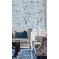Birds and Berries Chinoiserie Wall Mural Stencil DIY Asian Garden Decor Reusable stencils for Home Makeovers Large Wall Stencil, Bird Stencil, Stencil Diy, Painting Stencils, Painting Walls, Stenciling, Chinoiserie Wallpaper, Chinoiserie Chic, Of Wallpaper