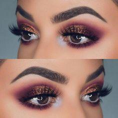 and Bronze Glitter Eye Makeup Idea for Prom. Easy eye makeup tutorial for. -Purple and Bronze Glitter Eye Makeup Idea for Prom. Easy eye makeup tutorial for. - Purple and Bronze Glitter Eye Makeup Idea for Prom Wish Eye Makeup Glitter, Smokey Eye Makeup, Makeup Eyeshadow, Makeup Brushes, Makeup Cosmetics, Mua Makeup, Makeup Geek, Eyeshadow Guide, Mac Brushes