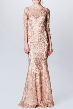 Marchesa Notte Blush Illusion Sleeve Embroidered Lace Gown