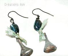 Gorgeous blue-fire labradorite earrings with cast iron dangle, sari ribbon. Ooak.  FREE shipping worldwide