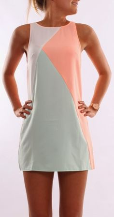 Sleeveless coral and half white mini dress trend | FASHION WINDOW- Maybe if it is white gray and black