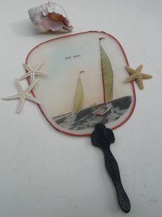 Vintage Souvenir Fan Sailboats Beach Decor Soo by PoemHouse