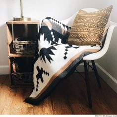 Our jacquard throw is just the right size for napping, reading or simply admiring. Toss over a sofa or chair, or fold at the foot of the guest bed. The intricate, Native American-inspired design is sure to be a conversation starter wherever it lands. Chair Style, Feature Chair, Pendleton Throw, Native American Decor, Lodge Style, Pendleton, Bed, Inspiration, Southwest Decor